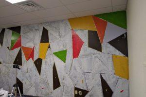 Abstract, geometric mural by Coachellart