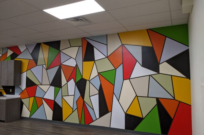 Abstract, geometric mural by Coachellart